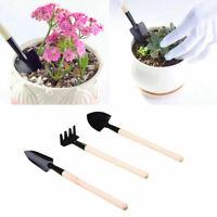 3Pcs Mini Spade Rake Shovel Set Flower Bonsai Weeding Free Soil Gardening Tool