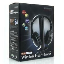 Hot 5 in 1 Wireless Headphone Earphone Black for PC TV CD FM Radio US Free Ship