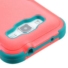 For Samsung Galaxy CORE Prime G360 - Coral Red Blue Hard&Soft Rubber Hybrid Case