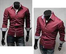 US Seller  Luxury Collared Button Down Slim Fit Shirt with Plaid Trim PK33