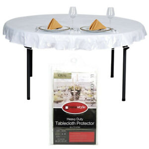 """Oval Window Clear Vinyl Tablecloth Protector Heavy Plastic Table Cover 54"""" x 72"""""""