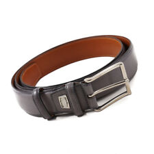 New $350 SANTONI Smooth Gray Calf Leather Belt 40 W (100cm) Adjustable Strap