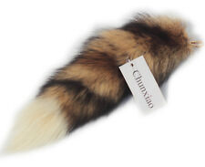 Supper Fluffy Real Fox Tail Fur Key Chain Ring Hook Fashion Show Red White Tip