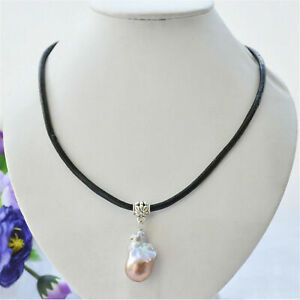 Huge Color Baroque Pearl pendant Leather Strap Necklace 18 inches Women Flawless