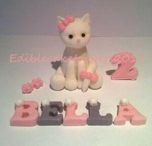 Handmade edible cat cake topper birthday, christening decoration