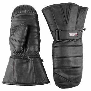 Snowmobile Gloves Adult Leather Mitten Snow Warm Ski Winter Black