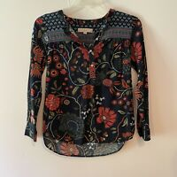 Loft Ann Taylor Petites Long Sleeves Blouse Black Floral Pattern XSP Buttons