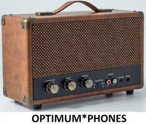 GPO Westwood Retro Mini Bluetooth 10W Speaker & RCA Input Brown