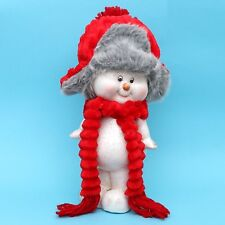 Ceramica Bambini Nella Neve in Piedi 33 cm Pupazzo di con Berretti Stoffa e