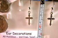 "Easter cross earrings Rhodium *Nickel free* 1 1/2"" dangle hooks"