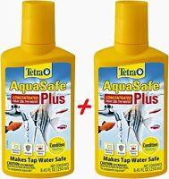 Tetra AquaSafe Plus Aquarium Fish Water Conditioner Dechlorinator 8.4oz 2 bottle