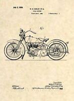 Official 1928 Harley Davidson Patent Art Print- Vintage Antique Motorcycle 455