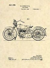 Official 1928 Harley Davidson Patent Art Print- Vintage Antique Motorcycle 455