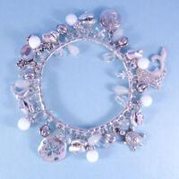 Silver Stretch Nautical Sea Life Charm Bracelet CZ Accent NEW Designer Look USA