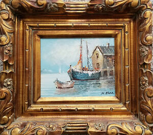 Vintage, Seascape Painting signed M. Blake. Harbor view with boats