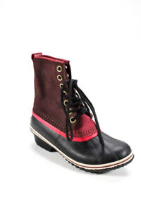 Sorel  Womens Lace Up Rubber Rainboots Brown Black Size 8