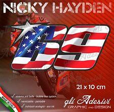Adesivo Stickers HAYDEN 69 numero cupolino replica USA flag