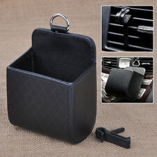 Black PU Leather Car Auto Air Vent Outlet Pouch Phone Organiser Bag Case Holder