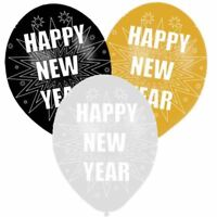6 pk Happy New Year Party Latex 11 inch Balloons Black Gold & Silver