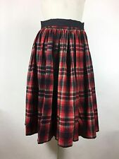 Vintage 1960s Red Plaid Skirt Pleated Black Waist Tie Bow Full Swing Rockabilly