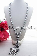 """26"""" 12mm Grey Pearl Crystal Necklace"""