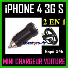 Mini Micro Chargeur Voiture Allume Cigare USB Noir iPhone 4 4S 4 S 3G S iPod