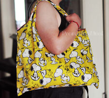 Snoopy Peanuts Fruit Food Large FOLDABLE SHOPPER TOTE BAG Handbag Shopping Bag