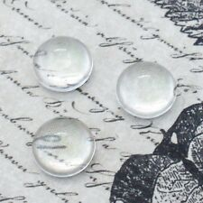 50 x Round Domed 10mm Clear Glass Cabochons - Transparent - High or Low Dome