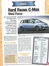 Ford Focus C-Max  2003 USA Car Auto FICHE FRANCE