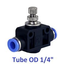 """Pneumatic Air Flow Speed Control Valve Tube OD 1/4"""" Inch Push In Fitting 1 Piece"""