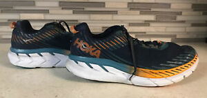 Hoka One One Mens Clifton 5 1093755 WDDS Blue Running Shoes Lace Up Size 11