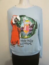 Wildfox Polly Want A Cocktail Sherpa Sweatshirt Baby Blue Size XS NWOT $145 COOL