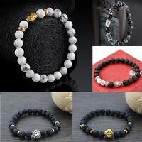 Natural Stone Lava Beaded Charm Buddha Buddhist Meditation Bracelet Jewelry
