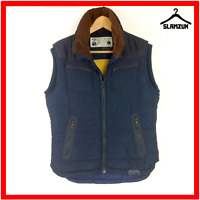Diesel Mens Padded Body Warmer Gilet S Small Navy Blue Quilted Puffer Sleeveless