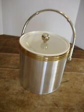Vintage Ice Bucket Silver and Gold Tone Trimmed Clear Lid Double Walled