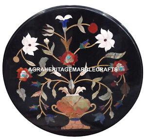 Black Marble Coffee Table Top Rare Pietradure Floral Art Mosaic Home Decor H2481
