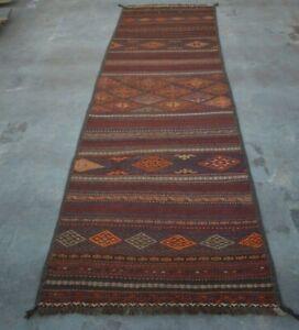 Antique Handmade Afghan Oriental sumik Qalaino Kilim Hallway Runner 305x85cm