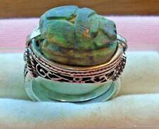 Egyptian Scarabs Sterling Silver 925 Filigree Ring skaisFEB18