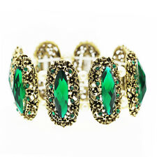 Vintage Style Emerald Green Stones Elastic Personality Ancient Bracelet BB175