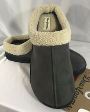Dearfoams Men's Microsuede Clog Slippers Gray with Sherpa Trim~ Med-Large~XL