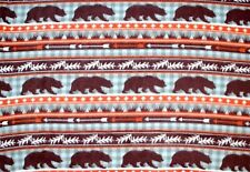 """BTY*WILDERNESS MARCHING BROWN BEARS ON GREY CHECK FLEECE FABRIC 1 YD 60X36"""""""