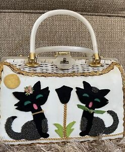 VTG 50's  Wicker~Straw Purse Lucite Handle Frame~Felt Beaded Cats and moon