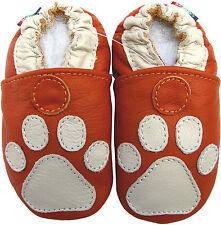 carozoo soft sole leather toddler shoes paw orange 2-3y