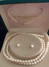 3-Piece Cultured Pearl Set ~ Necklace, Bracelet & Stud Earrings 14k Gold Clasps