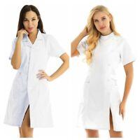 White Lab Coat Doctor Nurse Hospital Women's Long Jackets Uniform Dress Costume