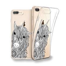 Funda gel dibujo Unicornio blanco y negro para Iphone 6 7 8 plus X Xs Xs MAX XR