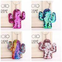 Hot Women Fashion Sequin Cactus Key Chain Handbag  Pendant Plant Keyring Jewelry