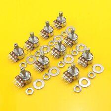 10 pcs B20K Ohm Dual Linear Rotary Potentiometer Pot 20mm Shaft 6 Pins
