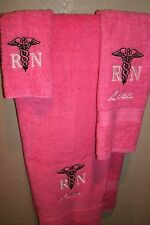 Rn Nurse Caduceus Logo Personalized 3 Piece Bath Towel Set Your Color Choice