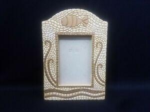 Mosaic Fish Picture Frame 4x6 Gold Off White Tiles Mediterranean Ocean Theme